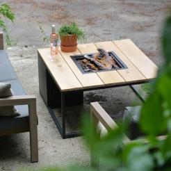Обігрівач-стіл-камін Cosiloft, black/teak