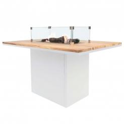 Обеденный стол-камин CosiLoft Relax, white/teak