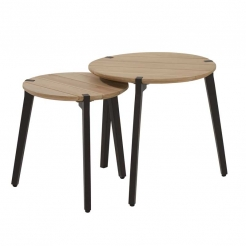 Стол Gabor dia55x50 см Teak/ dark grey legs
