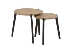 Стол Gabor dia45x45 см Teak/ dark grey legs