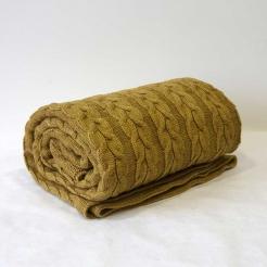 Плед вязаный 160х190, горчица-косы