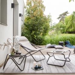 Крісло - шезлонг з підніжкою Bayanne Latte/Titane