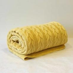 Плед вязаный 160х190, нежно-желтый-косы