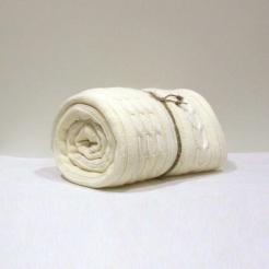 Плед вязаный,160х190, пломбир-косы