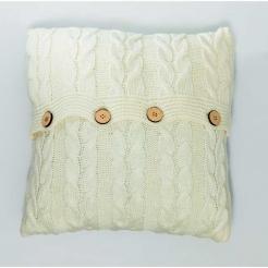 Подушка в'язана декоративна, пломбір-коси