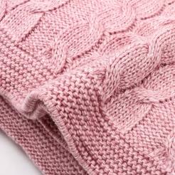 Плед, 190х160, розовая пудра-косы
