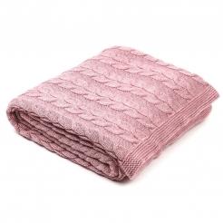 Плед в'язаний 190х160, рожева пудра/коси