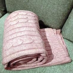 Плед 200*220, розовая пудра-косы