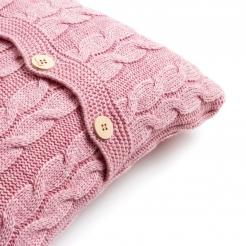 Подушка вязаная, розовая пудра-косы