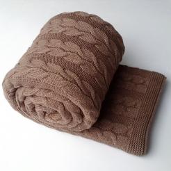 Плед вязаный 190х160, шоколад-косы