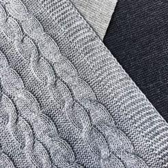 Плед вязаный, 190x160, сталь-косы