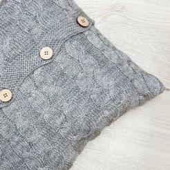 Подушка вязаная декоративная, светло-серый
