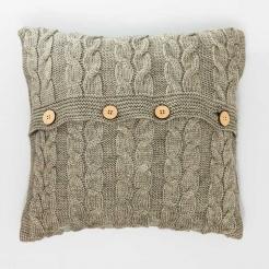 Подушка декоративная вязаная, темный беж-косы