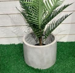Ваза бетонная уличная цилиндр 33 см, серый