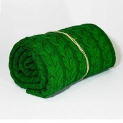 Плед вязаный, 190x160, зеленый-косы