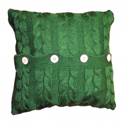 Подушка декоративна в'язана, зелений-коси